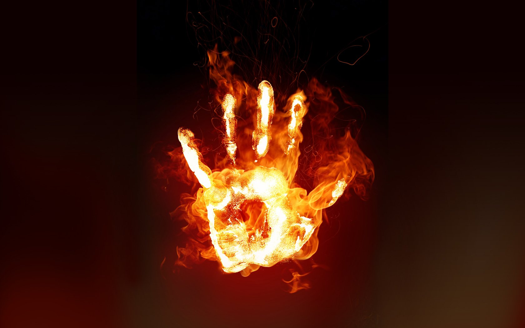 Dark - Artistic  Fire Hand Dark Flame Wallpaper