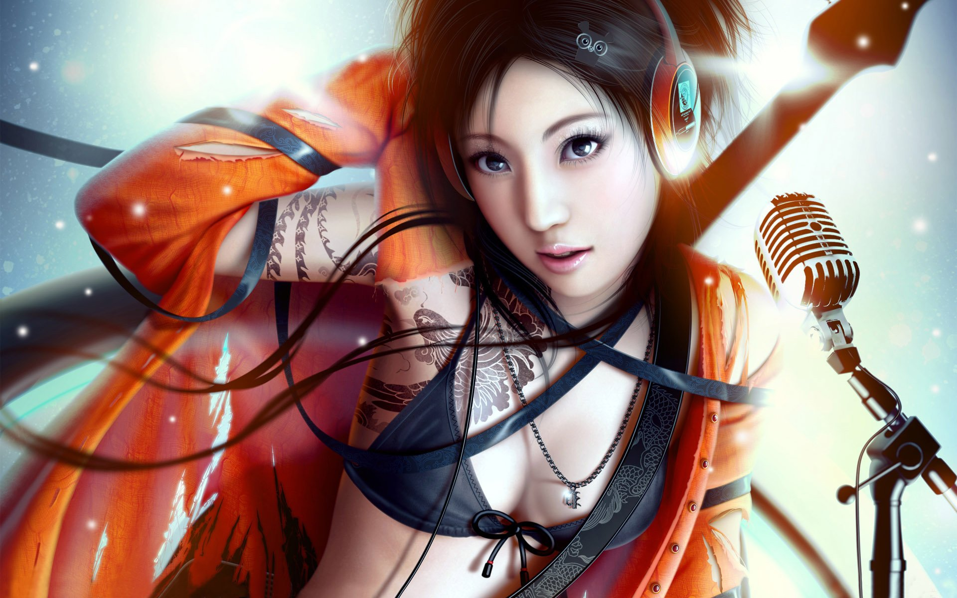 CGI - Women  CGI Woman Orange Cute Asian Music Wallpaper