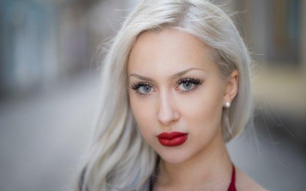 Women Face Model Lipstick Blonde Blue Eyes Depth Of Field HD Wallpaper   Background Image
