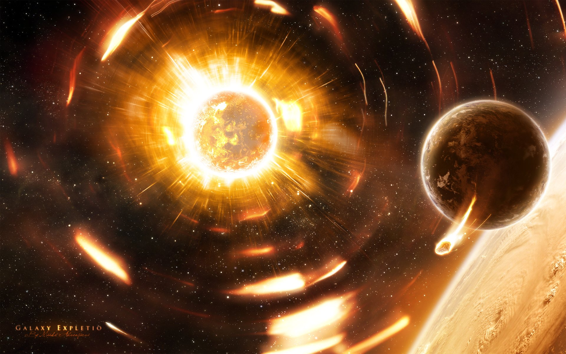 Science-Fiction - Explosion  Planet Sterne Science-Fiction Weltraum Wallpaper