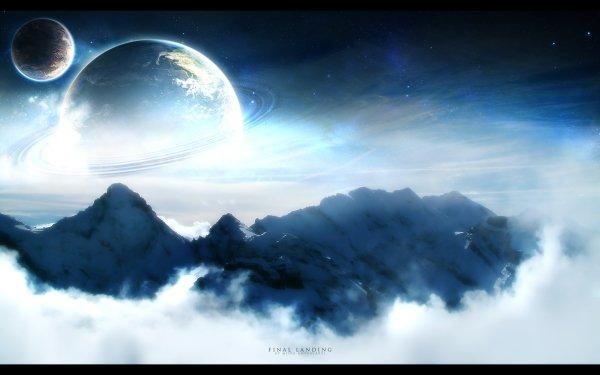 Sci Fi Landscape Blue Mountain HD Wallpaper | Background Image