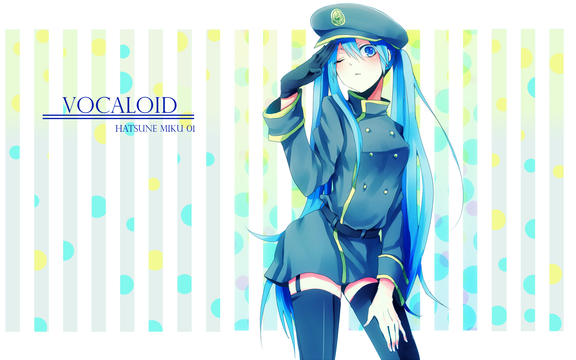 Anime - Vocaloid  - 1920x1080 - Hatsune - Miku - Salute - Uniform - Women  Wallpaper
