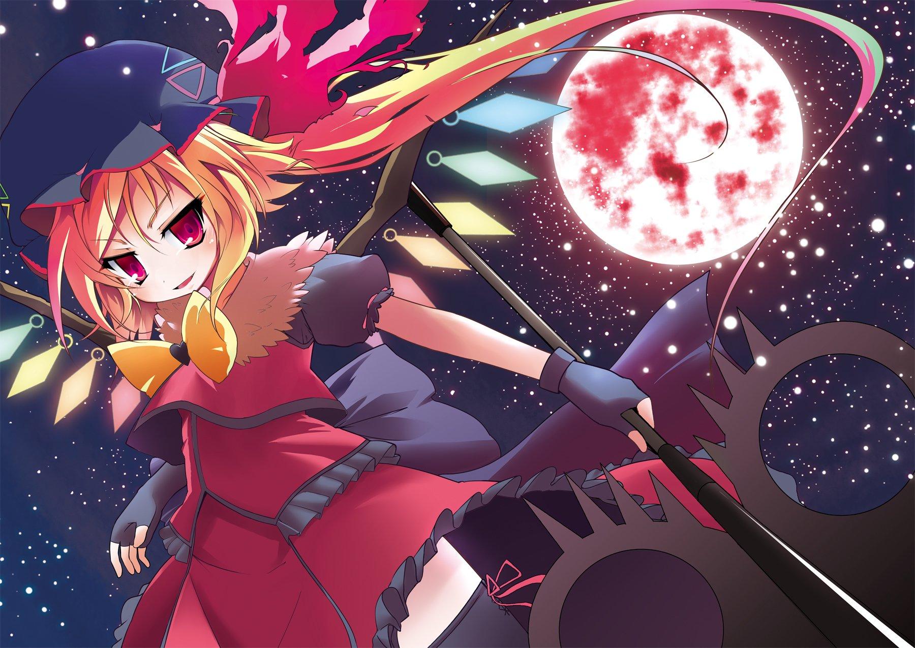 Anime - Touhou  Flandre Scarlet Wings Staff Moon Vampire Wallpaper