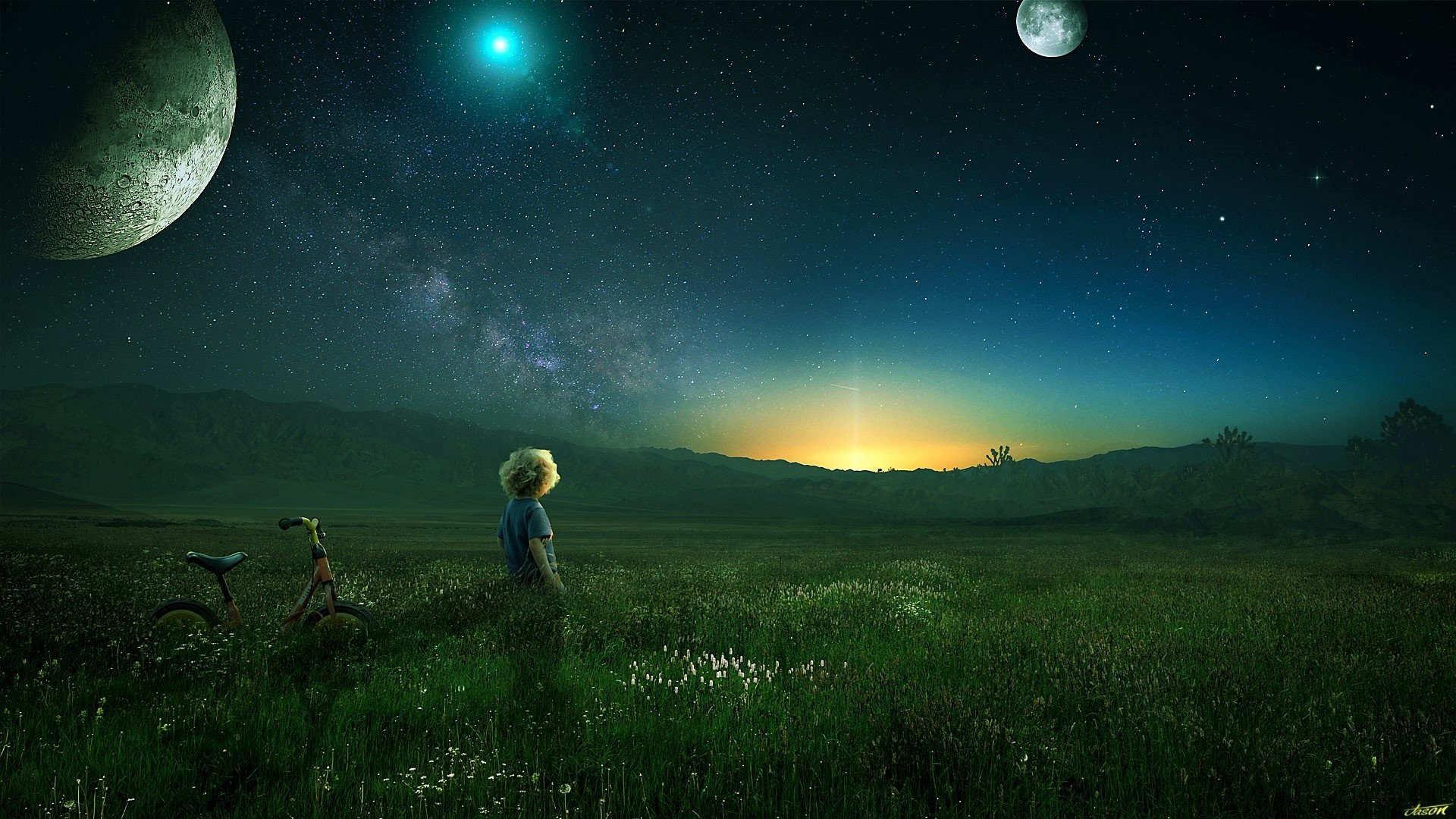 Photography - Manipulation  Artistic Photoshop Little Boy Field Bicycle Planet Stars Wallpaper