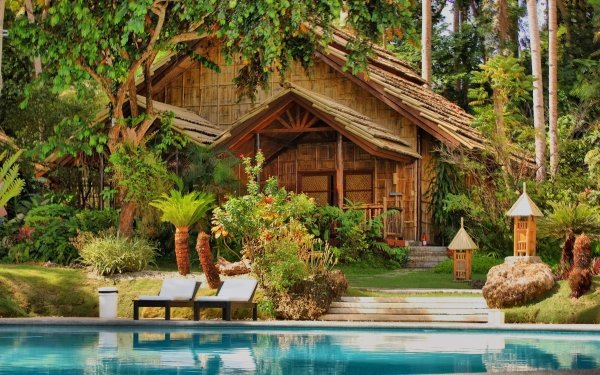 Man Made House Buildings Vacation Tropical Palm Tree HD Wallpaper   Background Image
