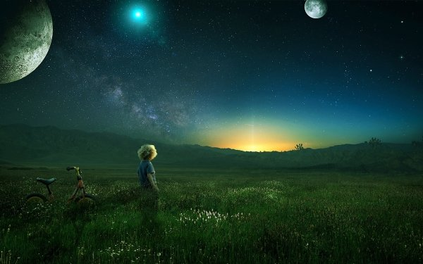 Photography Manipulation Photoshop Little Boy Field Bicycle Planet Stars HD Wallpaper | Background Image