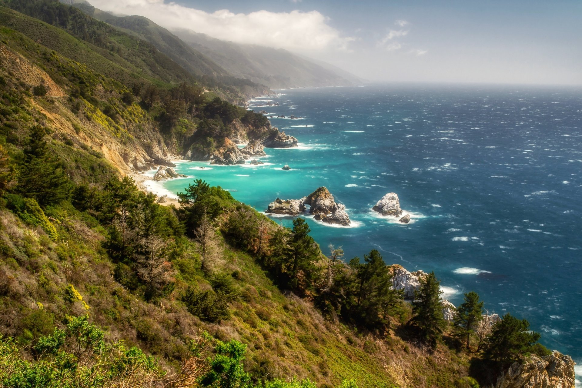 Earth - Coastline  Ocean Seascape California Big Sur Horizon Haze Wallpaper