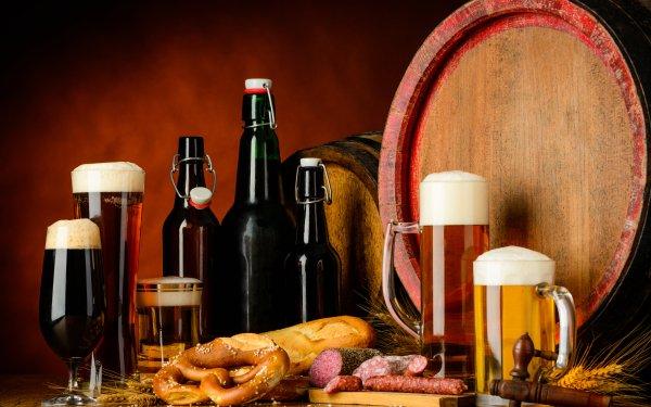 Food Still Life Beer Glass Bottle Alcohol Drink Barrel Meat HD Wallpaper | Background Image
