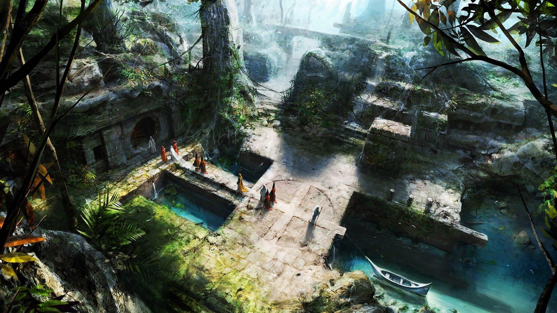 Fantasy - Landscape  Mystical Boat People Fantasy Wallpaper