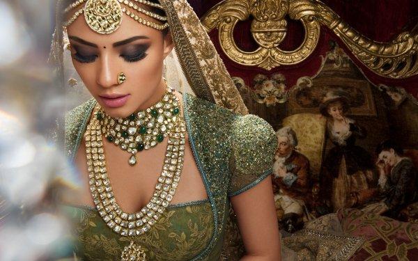 Women Bride Indian Oriental Jewelry Saree Necklace Makeup Veil Bokeh HD Wallpaper | Background Image