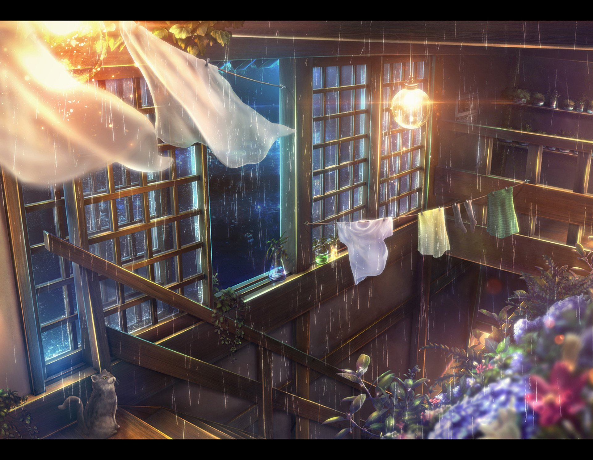 Anime - Original  Room Rain Night Flower Stairs Light Bulb Wallpaper