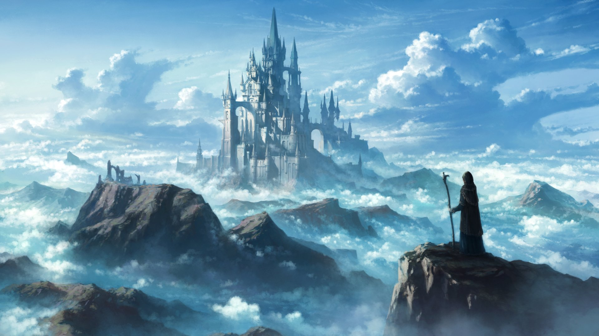 Fantasy - Castle  Man Sky Cloud Mountain Fantasy Wallpaper