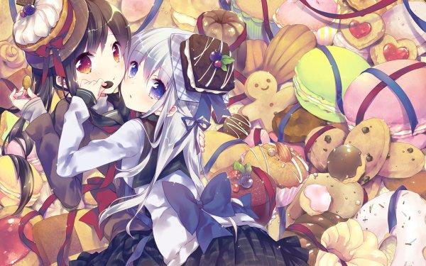 Anime Original White Hair Purple Eyes Black Hair Brown Eyes Panqueque Tarta Comida Fondo de pantalla HD | Fondo de Escritorio
