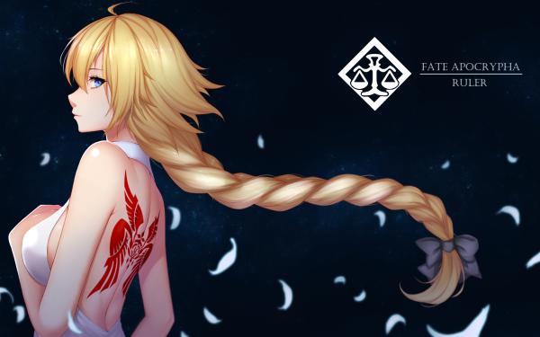Anime Fate/Apocrypha Fate Series Ruler Jeanne d'Arc Fate/Grand Order Fate Tattoo Blonde Long Hair Braid Blue Eyes White Dress Dress HD Wallpaper | Background Image