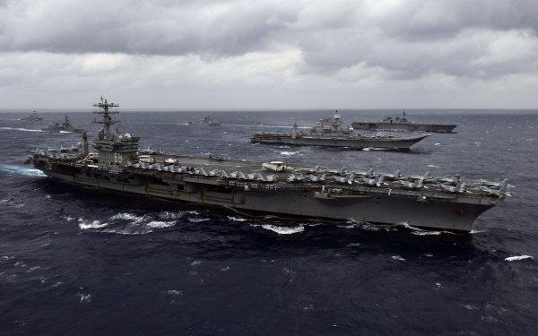 Military USS Nimitz (CVN-68) Warships United States Navy Aircraft Carrier Warship Ocean Horizon HD Wallpaper | Background Image