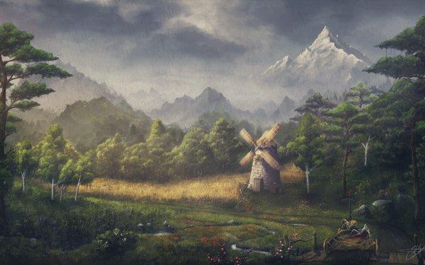 Fantasy Landscape Rain Forest Mountain Path Windmill HD Wallpaper | Background Image