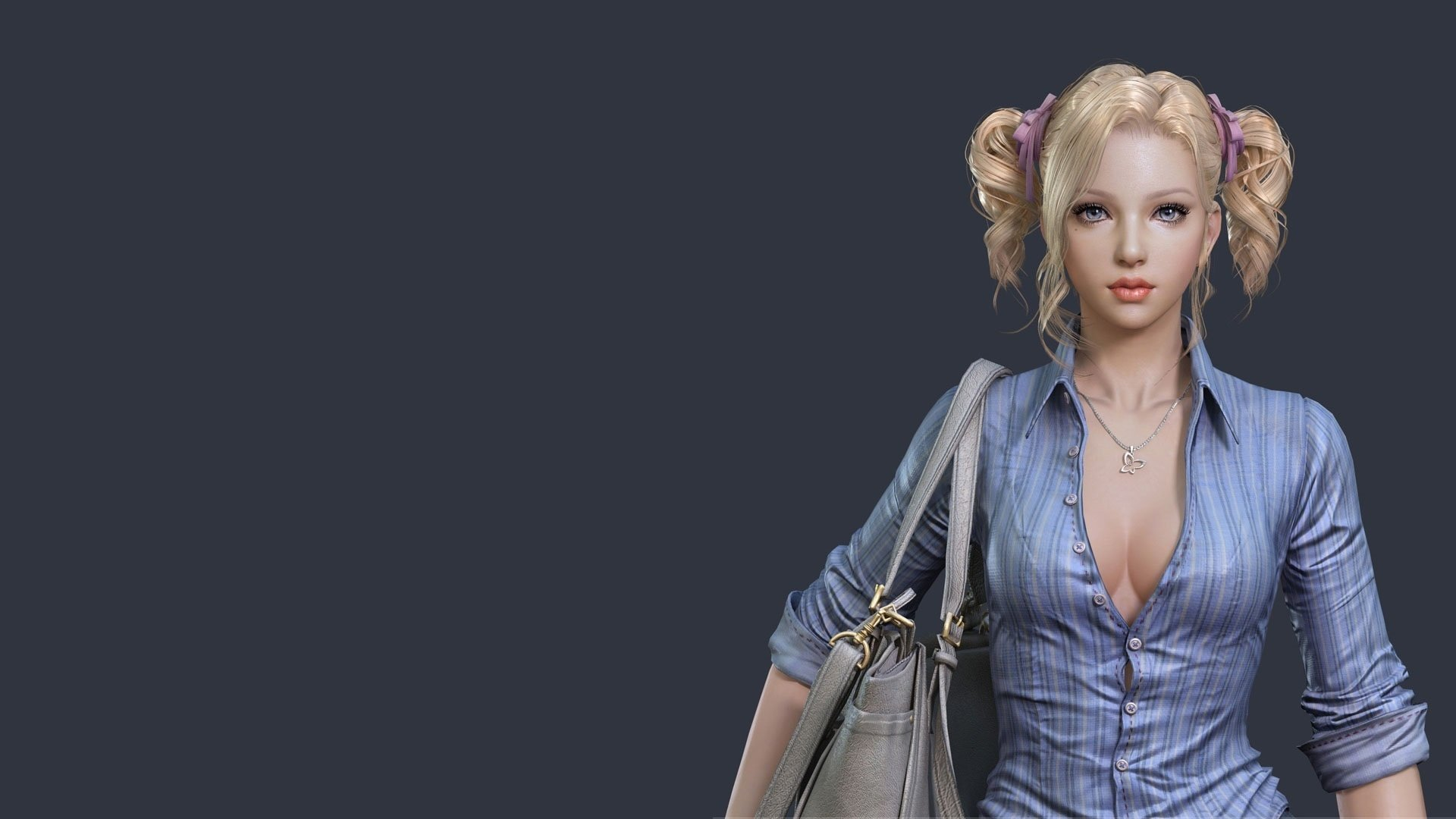 Artistic - Women  Woman Girl Blonde Blue Eyes Twintails Wallpaper