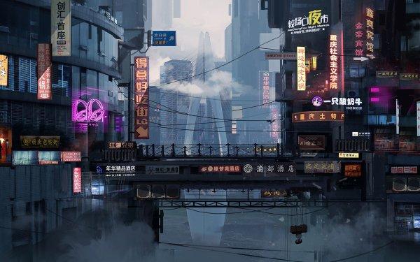 Sci Fi City China Neon Sign Cyberpunk Cityscape HD Wallpaper | Background Image