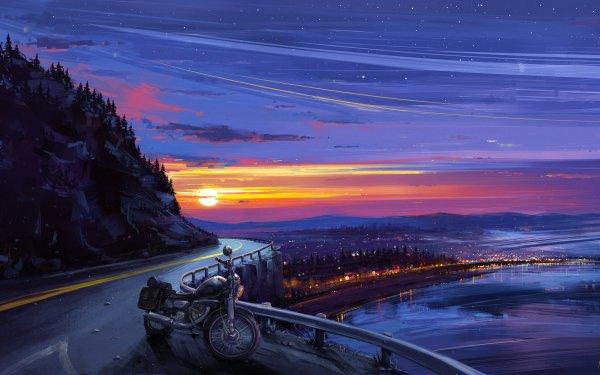 Anime Original Motorcycle Sunset Evening Stars City HD Wallpaper | Background Image