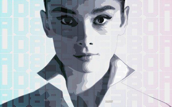 Celebrity Audrey Hepburn Actresses United Kingdom Actress Face Portrait Vector HD Wallpaper | Background Image