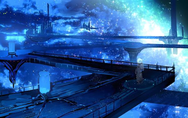 Anime Original Astronauta Ciencia ficción Edificio Galaxia Estrellas Fondo de pantalla HD   Fondo de Escritorio