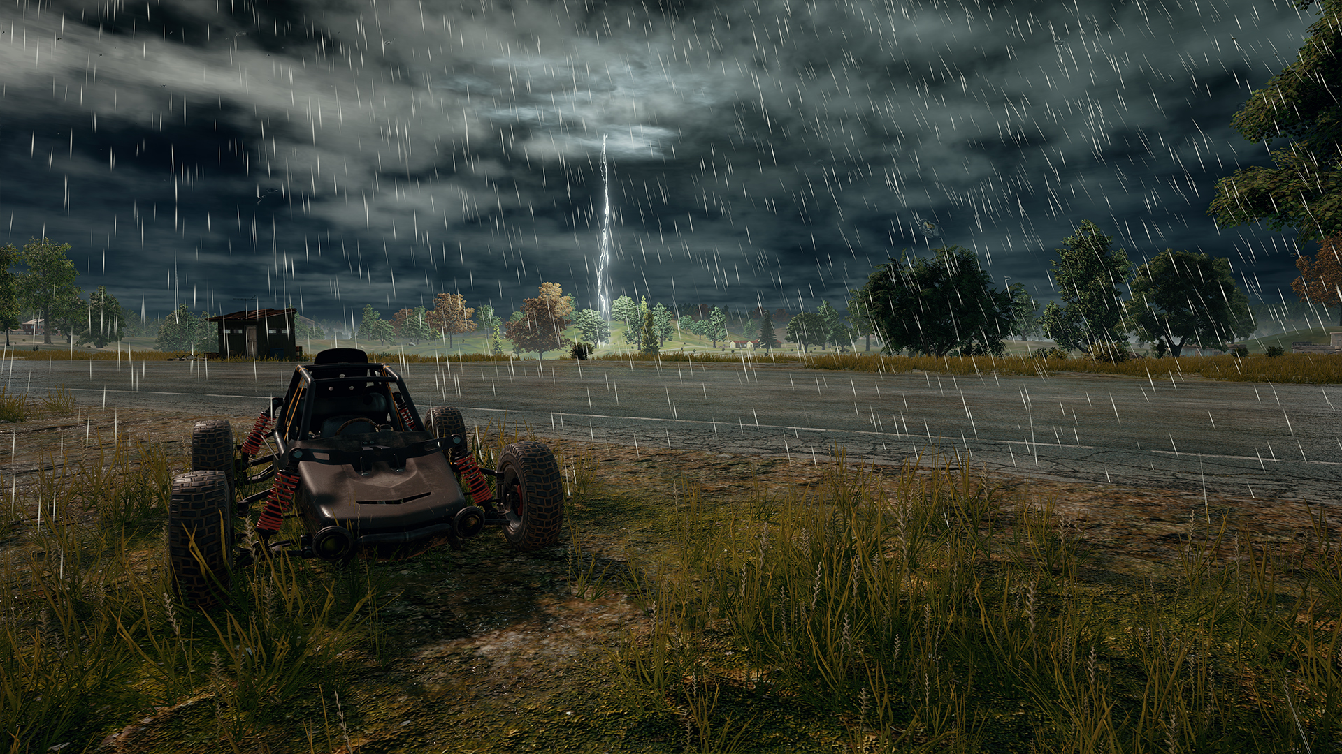 Playerunknown S Battlegrounds Buggy And Rain Hd Wallpaper