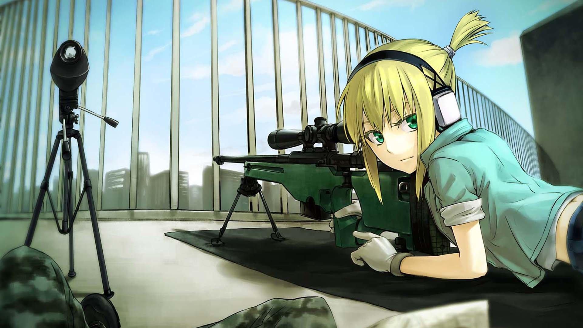 Anime - Vocaloid  Painting Girl Sniper Artistic Len Kagamine Wallpaper