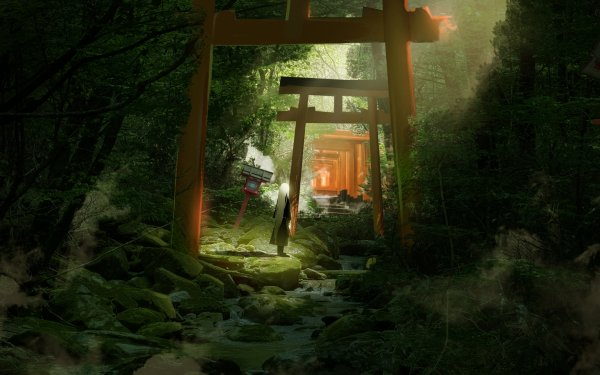 Anime Original Shrine White Hair Tree Torii HD Wallpaper | Background Image