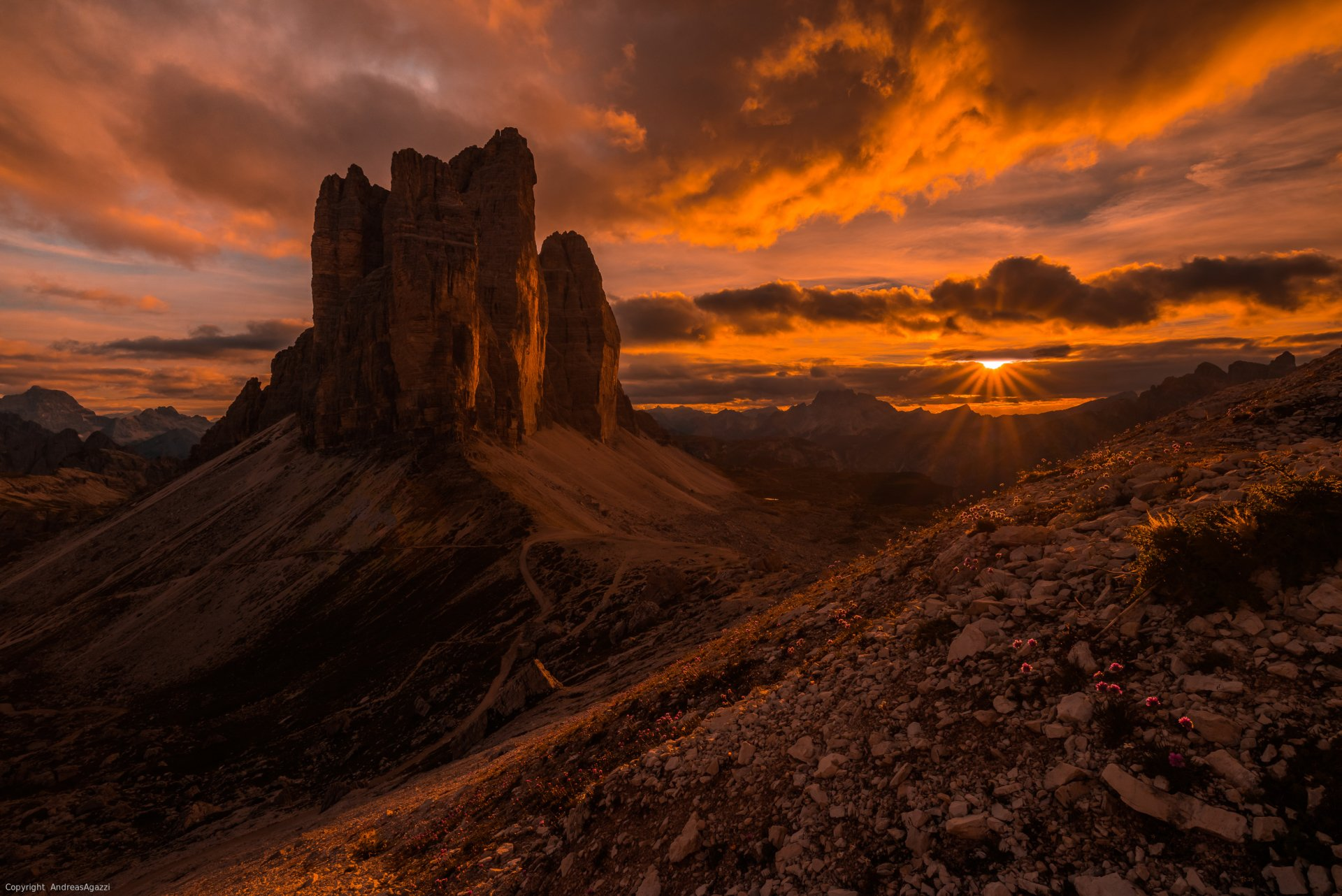 Earth - Dolomites  Earth Mountain Italy Sunset Wallpaper