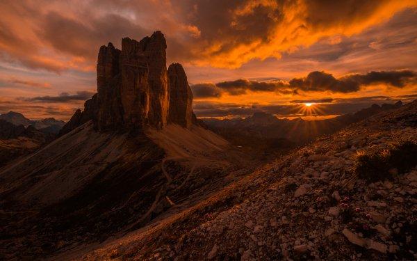 Earth Tre cime di Lavaredo Mountains Mountain Italy Dolomites Sunset HD Wallpaper | Background Image