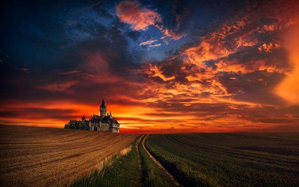 Photography Manipulation Fantasy Castle Field Wheat Grass Sunset HD Wallpaper | Background Image