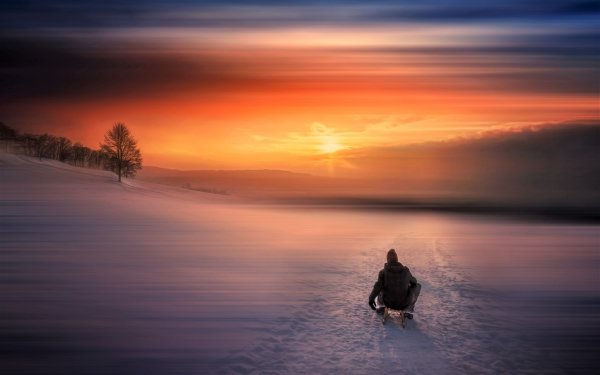 Photography Winter Lake Snow Man Sled Sky Sunset HD Wallpaper   Background Image