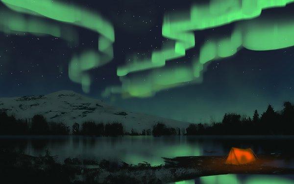 Fantasy Landscape Aurora Borealis Tent Stars Mountain Night Lake Tree HD Wallpaper | Background Image
