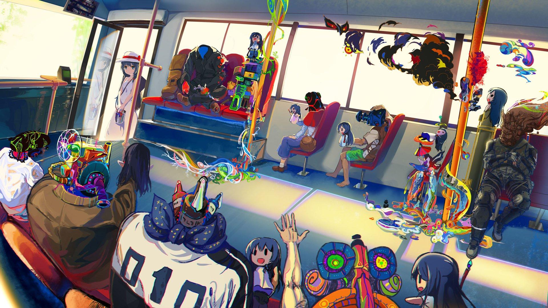 Anime - Original  Fantasy Girl Bus Wallpaper