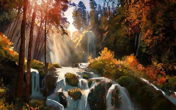 Fantaisie Waterfall Automne Arbre Feuille Sunshine Illustrastion Fond d'écran HD | Image