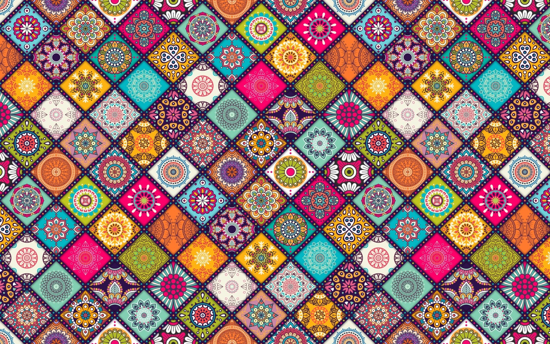 Artistic - Flower  Floral Artistic Colors Pattern Colorful Square Wallpaper