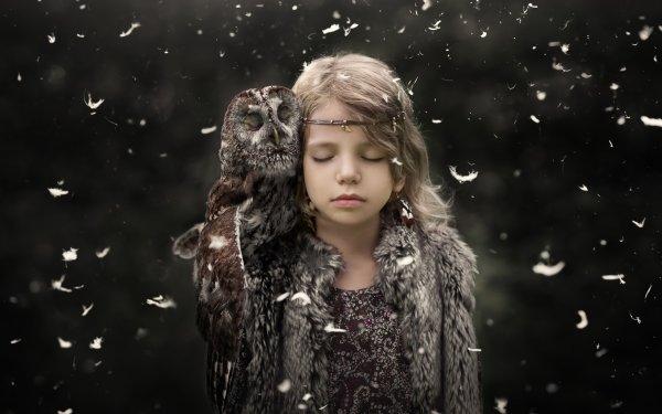 Photography Child Little Girl Owl Bird Mood Blonde HD Wallpaper   Background Image