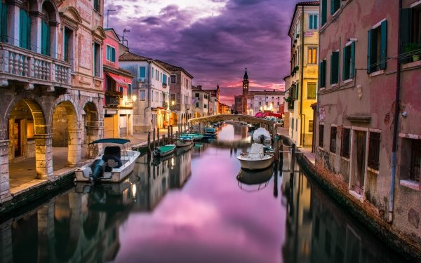 Man Made Venice Cities Italy Sunset Canal Boat House Reflection Chioggia HD Wallpaper | Background Image