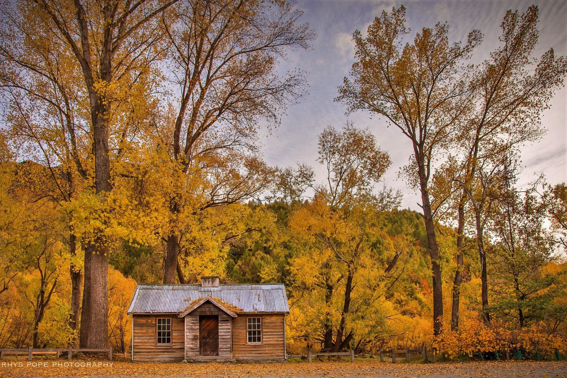 Man Made - Cabin  Wood Forest Fall Foliage Wallpaper