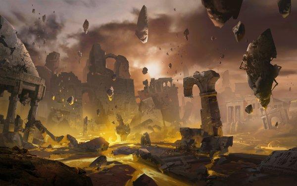Fantasy Ruin Landscape Sky Floating HD Wallpaper | Background Image