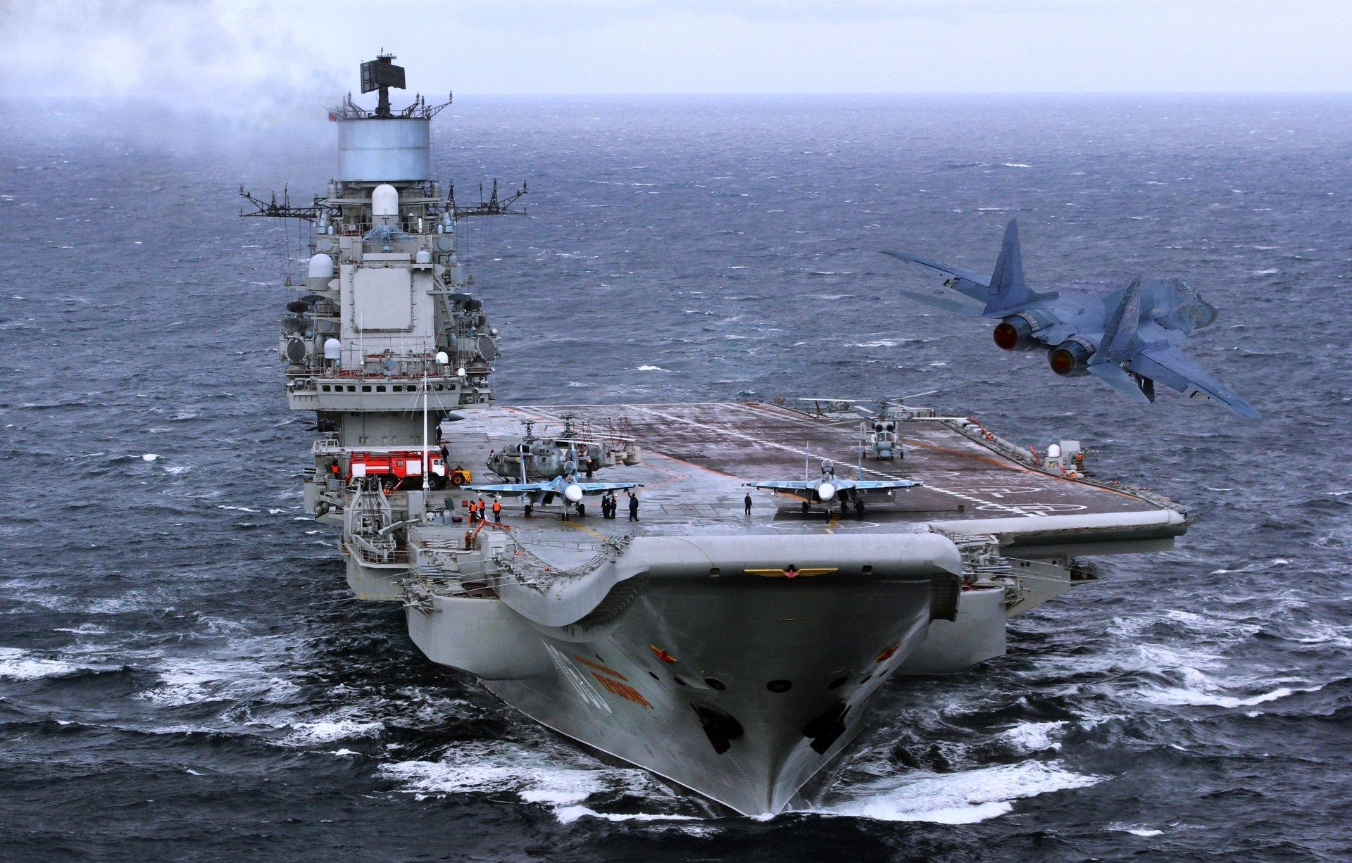Military - Russian aircraft carrier Admiral Kuznetsov  Aircraft Carrier Jet Fighter Warship Wallpaper