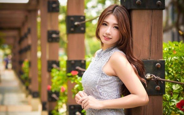 Women Asian Woman Model Smile Brunette Depth Of Field HD Wallpaper | Background Image