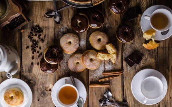 Alimento Bodegón Café Cup Donut Dulces Cinnamon Coffee Beans Chocolate Fondo de pantalla HD   Fondo de Escritorio