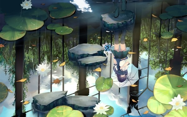Anime Original Umbrella Water Lily Water Reflection HD Wallpaper | Background Image