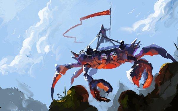 Fantasy Creature Crab Warrior Knight Banner HD Wallpaper | Background Image
