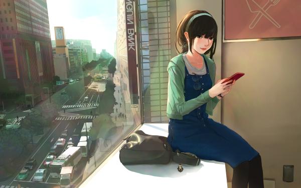 Anime Original Phone Chica Calle Vehículo Traffic Ciudad Edificio Fondo de pantalla HD | Fondo de Escritorio