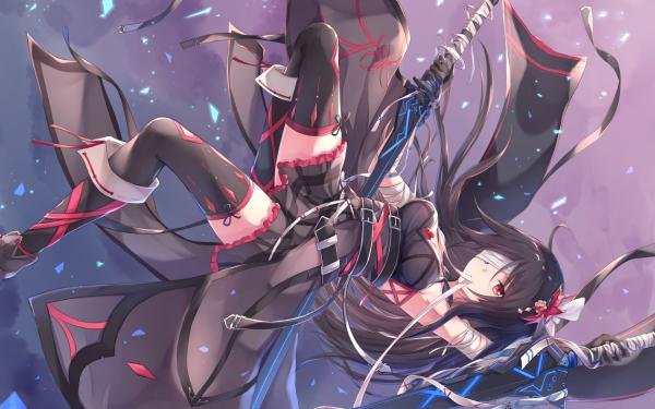 Anime Original Katana Chica Coat Bandage Heterochromia Fondo de pantalla HD | Fondo de Escritorio