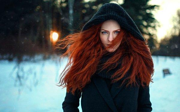 Women Model Models Woman Girl Redhead Hood Depth Of Field Winter Blue Eyes HD Wallpaper | Background Image
