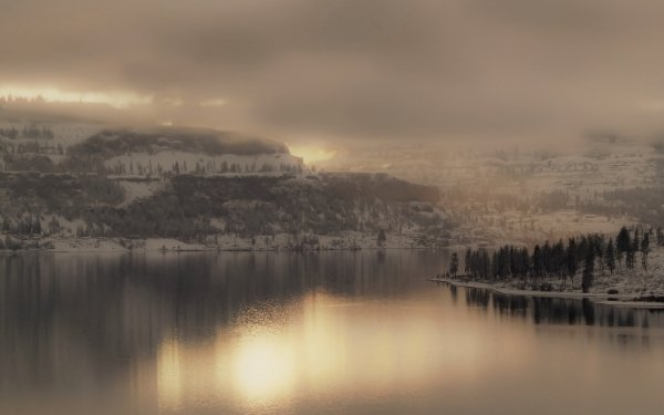 Earth Lake Lakes Water Mountain Tree Forest Wood Fog Cloud Sky Light Reflection HD Wallpaper | Background Image