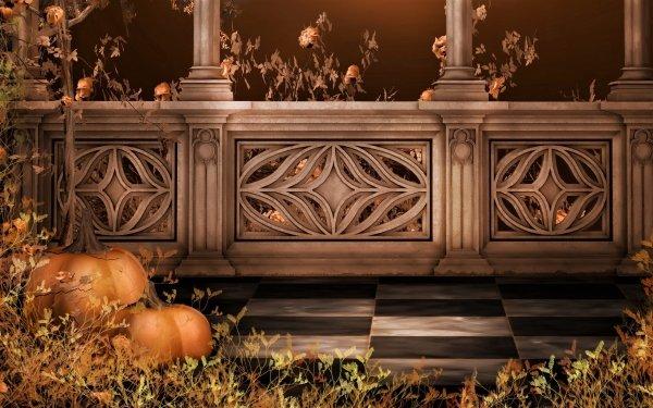 Artistic Fall Pumpkin Leaf Terrace Columns HD Wallpaper | Background Image